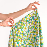 Vintage Daisy Printed Cotton Poplin - Lemon/Aqua | Blackbird Fabrics