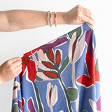 Modern Floral Viscose Crepe - Sky Blue   Blackbird Fabrics