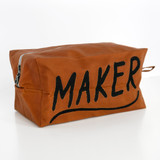 Embroidered Deadstock Waxed Canvas Dopp Kit - MAKER | Blackbird Fabrics