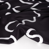 Squiggle Printed Ecovero Twill - Black/White | Blackbird Fabrics