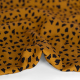 Abstract Cheetah Printed Ecovero Challis - Ochre/Black | Blackbird fabrics