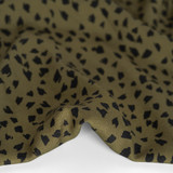 Abstract Cheetah Printed Ecovero Challis - Military/Black | Blackbird Fabrics