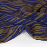 Abstract Zebra Printed Ecovero Challis -Olive/Navy | Blackbird Fabrics