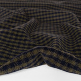 Deadstock Check Wool Blend Coating - Military/Midnight | Blackbird Fabrics