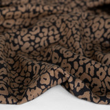 Cheetah Printed Tencel Twill - Coffee | Blackbird Fabrics