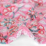 Tapestry Block Printed Organic Cotton Batiste - Candy Pink/Red | Blackbird Fabrics