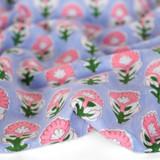 Bloom Block Printed Organic Cotton Batiste - Lilac/Pink | Blackbird Fabrics