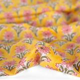 Bloom Block Printed Organic Cotton Batiste - Marigold/Pink | Blackbird Fabrics