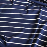 Nautical Bamboo Stripe Knit - Navy/Cream - 1/2 meter