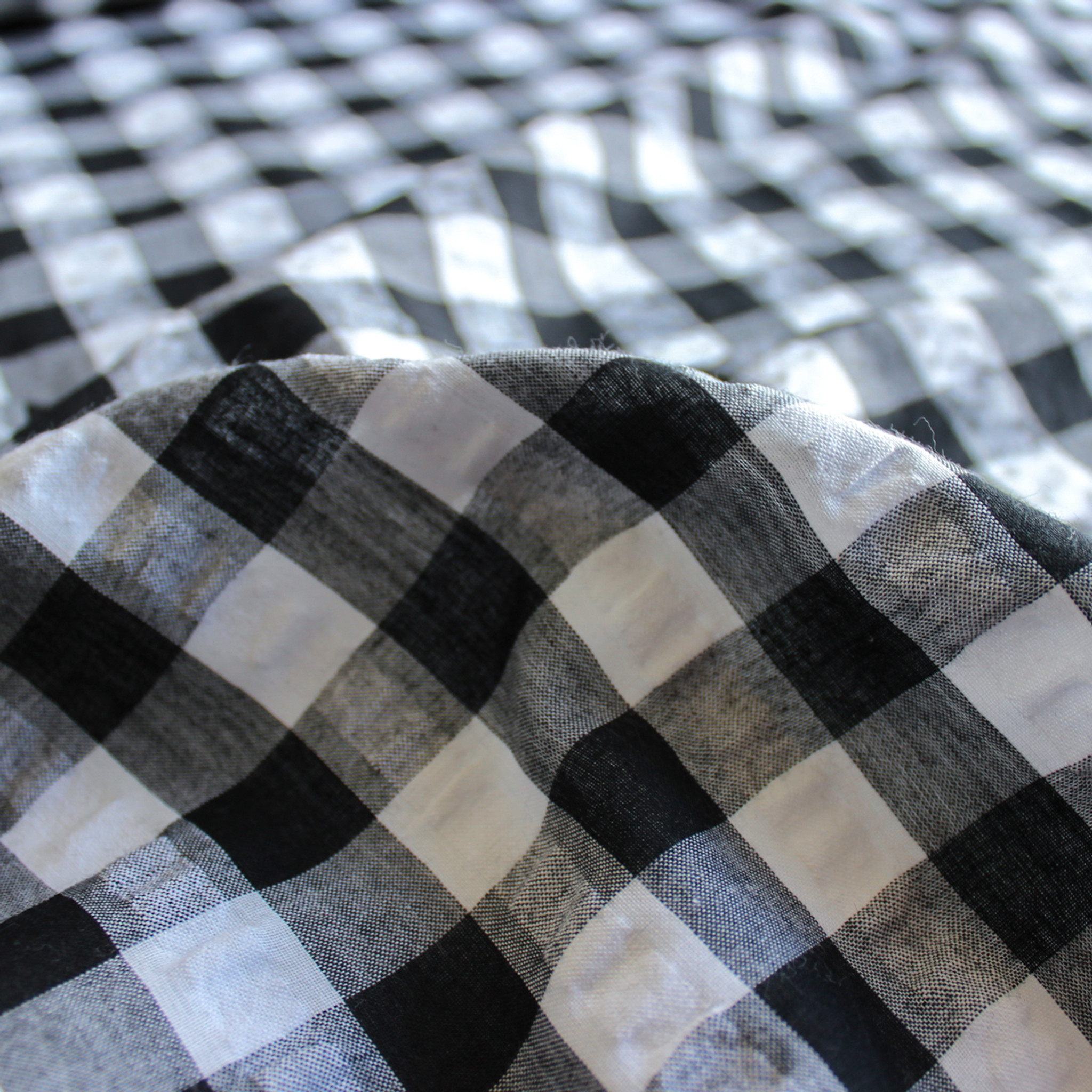 Gingham Seersucker Shirting Black White Blackbird Fabrics