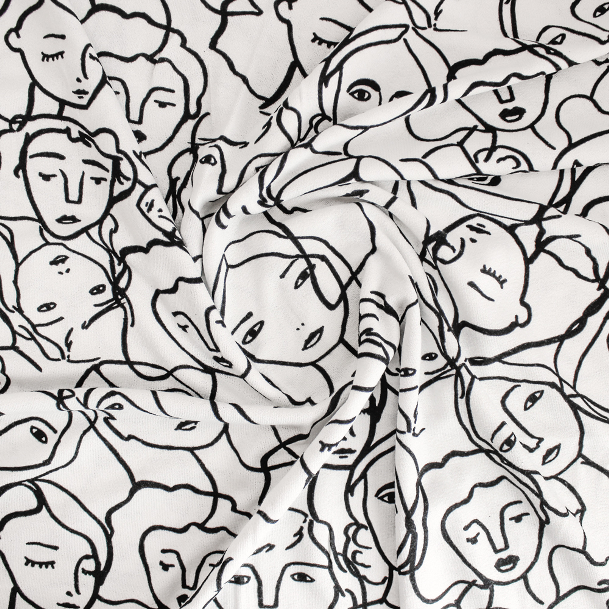 2f29d4d49f2 Crowded Faces Viscose Crepe Jersey - White/Black | Blackbird Fabrics