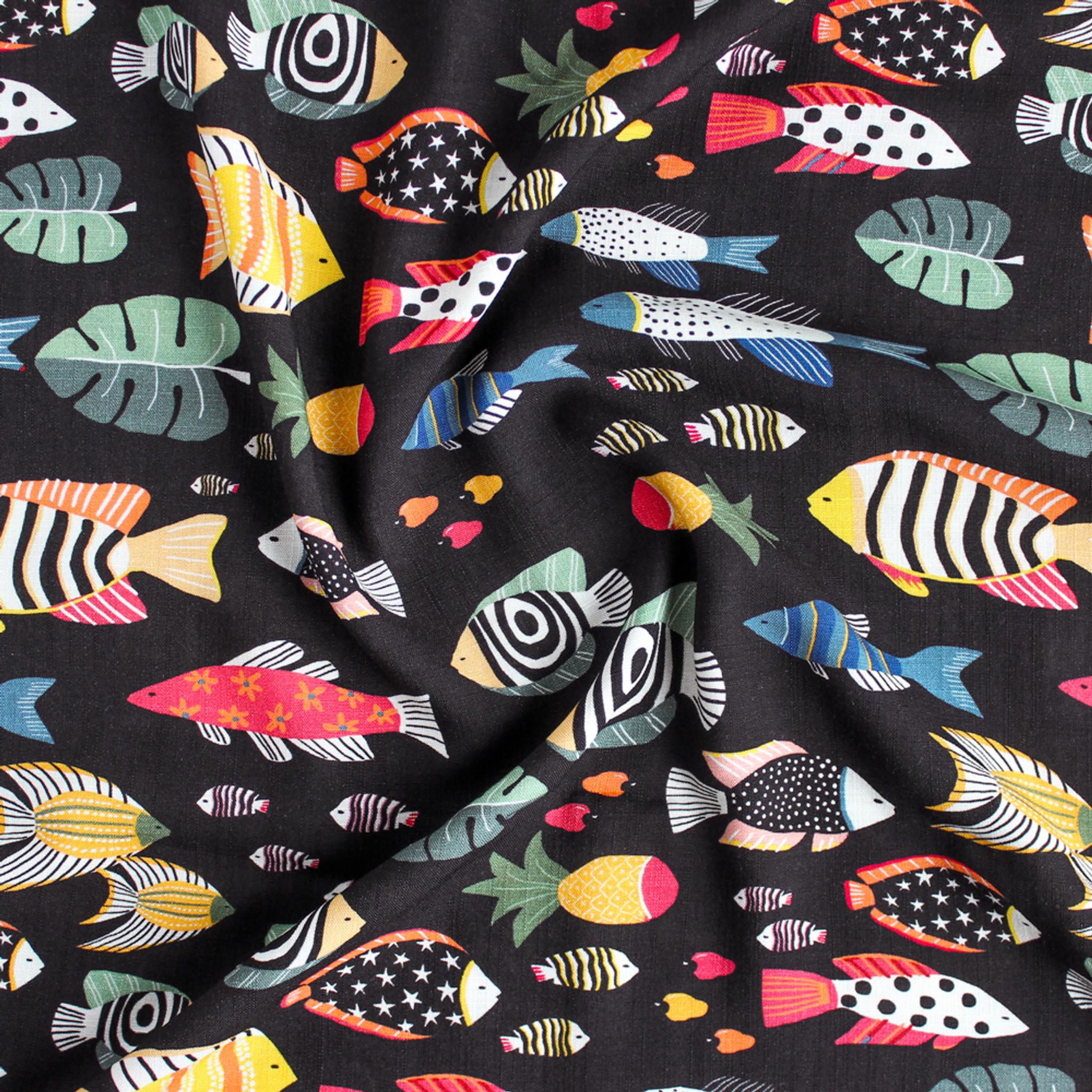 1fd8406c700 Fish Print Rayon Slub - Black/Multi - 1/2 meter