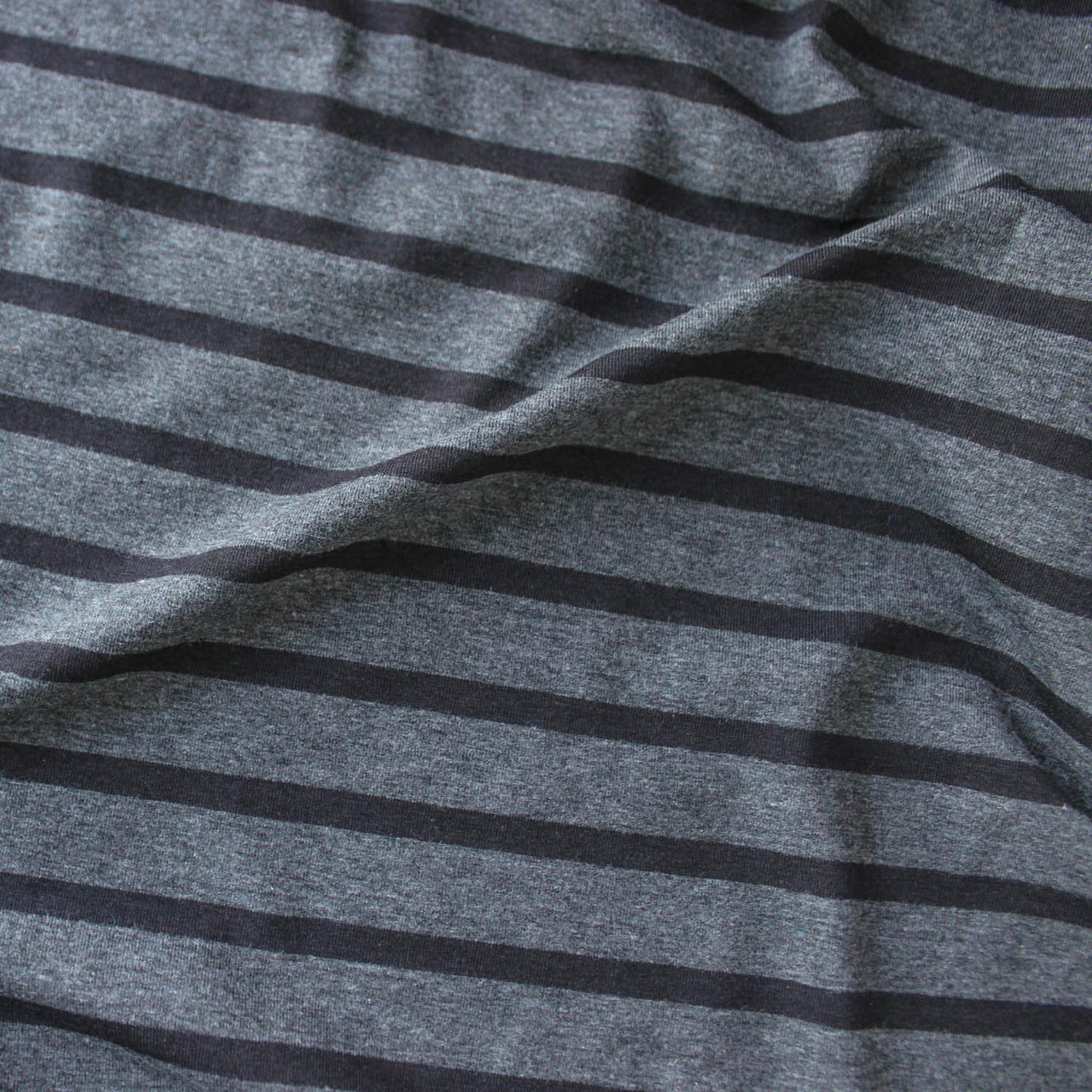 52f0c5c4ec6 Bamboo & Cotton Striped Jersey Knit - Heather Charcoal/Black | Blackbird  Fabrics