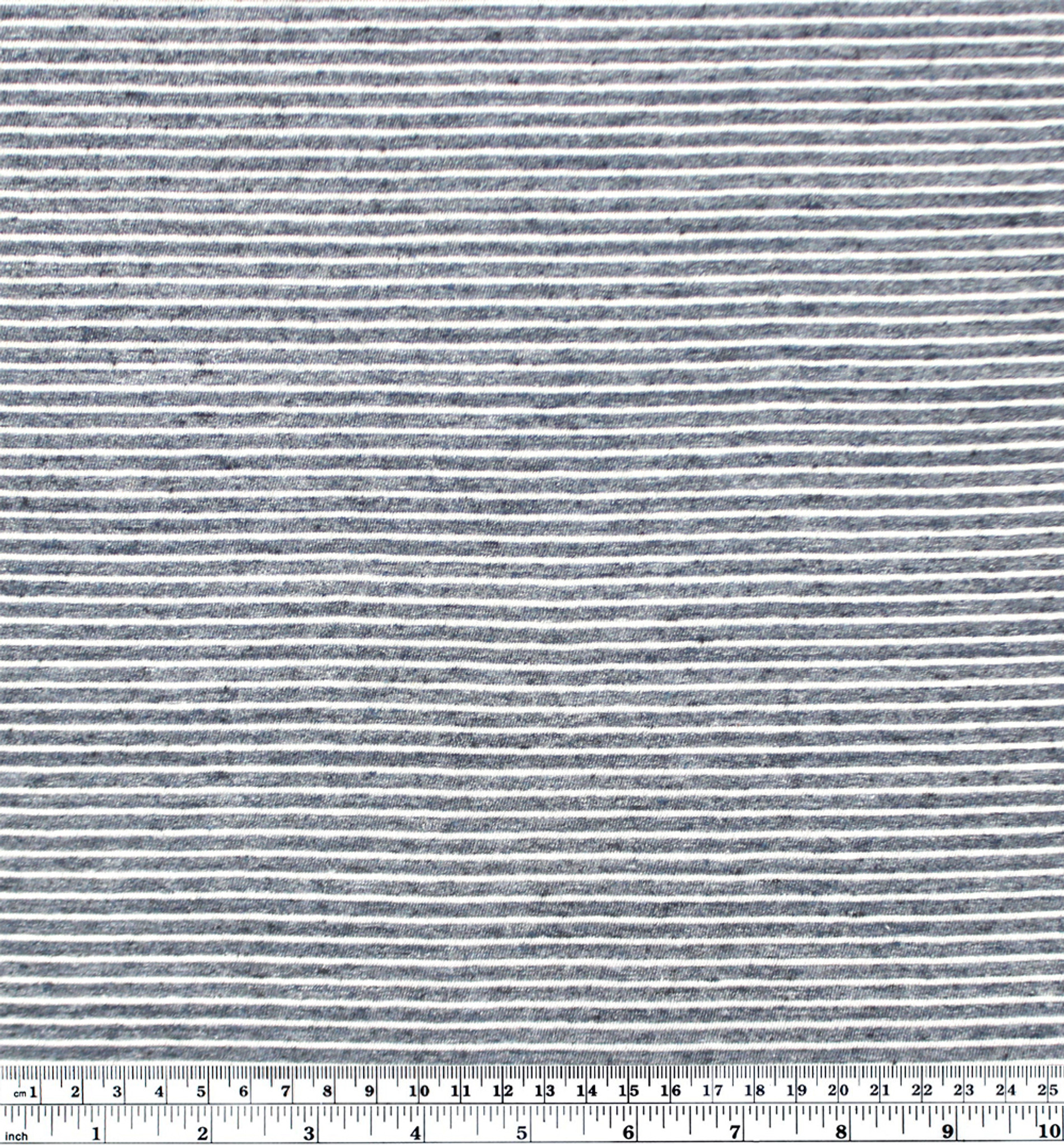 Pinstriped Cotton Poly Jersey Heather Storm BlueIvory 12 meter