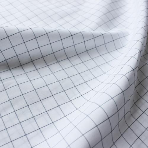 Windowpane Check Japanese Cotton Shirting - White/Black | Blackbird Fabrics