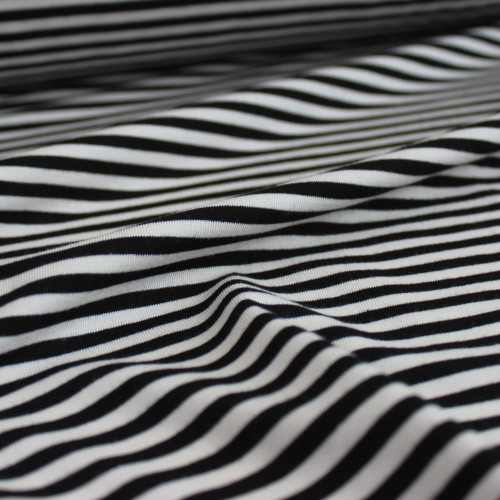 Mini Striped Bamboo Jersey Knit - Black/Ivory | Blackbird Fabrics