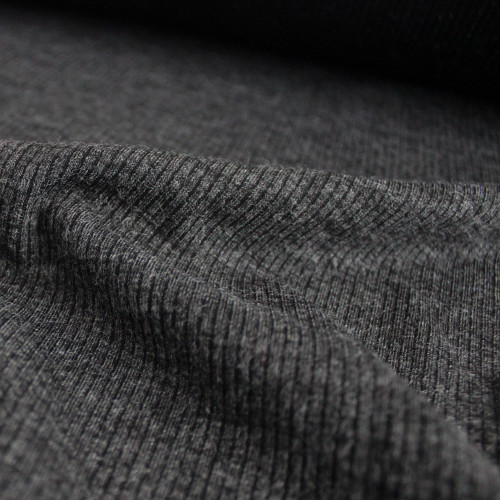 Melange Rib Sweater Knit - Charcoal - 1/2 meter