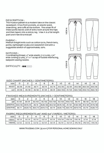 Hudson Pant by True Bias | Blackbird Fabrics