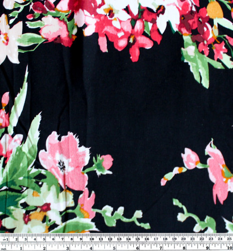 Bouquet Floral Viscose Poplin - Black/Red | Blackbird Fabrics
