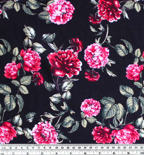 Damask Rose Viscose Poplin - Black/Pink   Blackbird Fabrics