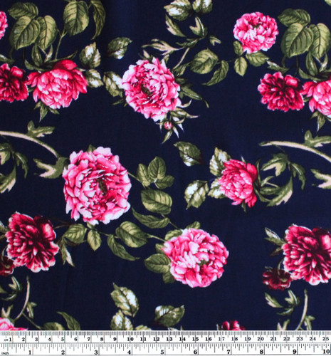Damask Rose Viscose Poplin - Navy/Pink | Blackbird Fabrics