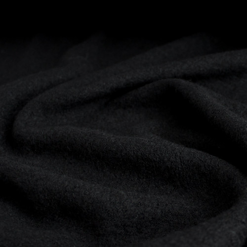 Boiled Wool & Viscose - Black | Blackbird Fabrics