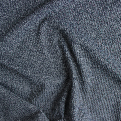 Waffle Sweater Knit - Heather Denim | Blackbird Fabrics