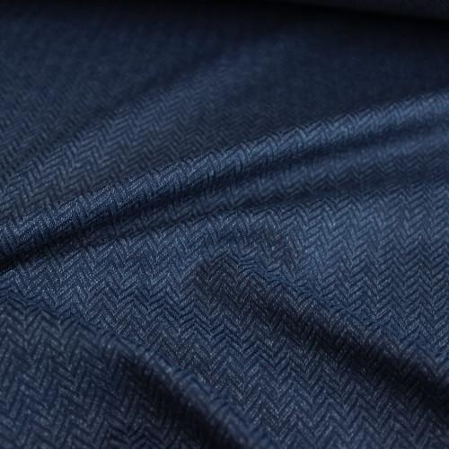 Peached Herringbone Knit - Navy   Blackbird Fabrics