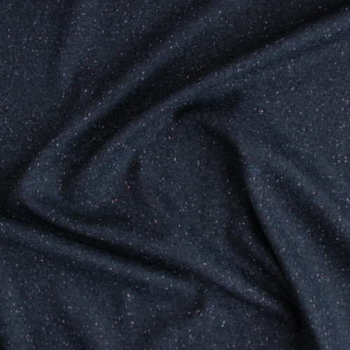 Moon Dust Double Knit - Navy with Pink Speckle | Blackbird Fabrics