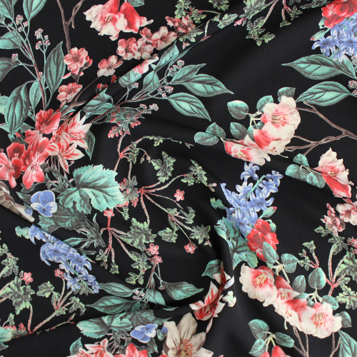Floral Polyester Crepe - Black/Coral | Blackbird Fabrics