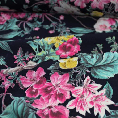 Floral Polyester Crepe - Navy/Pink - 1/2 meter