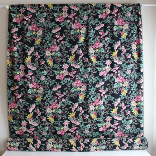 Floral Polyester Crepe - Navy/Pink | Blackbird Fabrics
