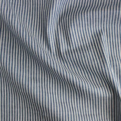 Ticking Stripe Cotton Denim Shirting - Medium Wash | Blackbird Fabrics