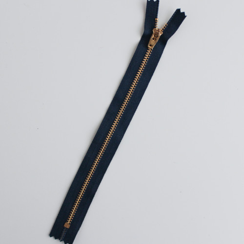 Jeans Zipper - Navy with Brass | Blackbird Fabrics