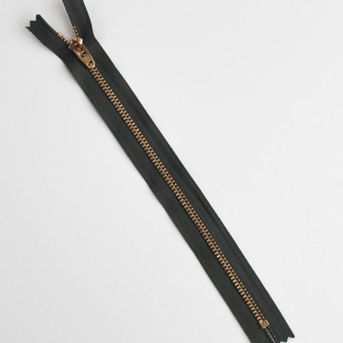 Jeans Zipper - Olive with Brass | Blackbird Fabrics