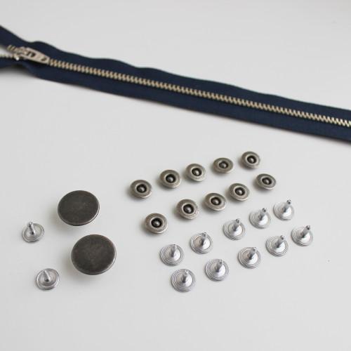 Jeans Hardware Kit - Antique Silver | Blackbird Fabrics