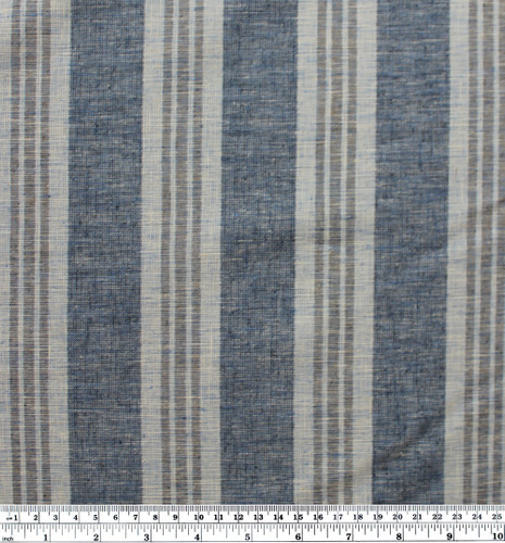 Hemp & Organic Cotton Multi Stripe - Denim Blue | Blackbird Fabrics