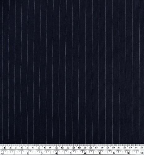 Linen & Tencel Pinstripe - Navy | Blackbird Fabrics