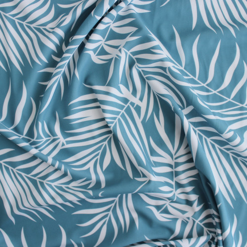 Palm Leaves Nylon Swim Tricot - Blue/White | Blackbird Fabrics
