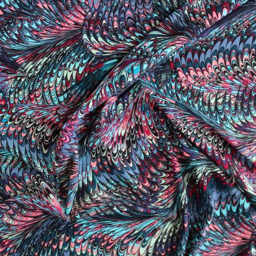 Marbled Nylon Swim Tricot - Blue/Pink   Blackbird Fabrics