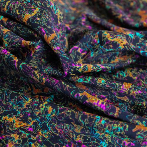 Abstract Nylon Swim Tricot - Black/Multicolour - 1/2 meter