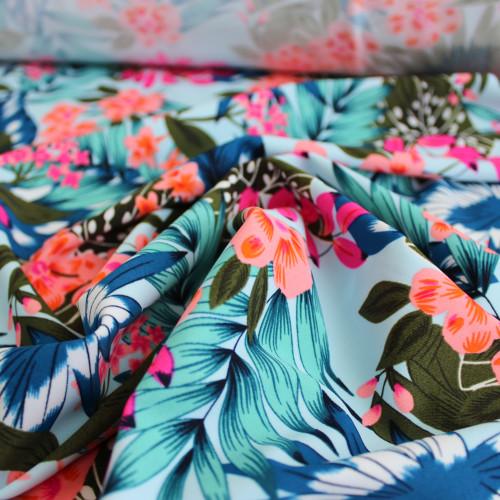 Tropical Nylon Swim Tricot - Blue/Pink | Blackbird Fabrics