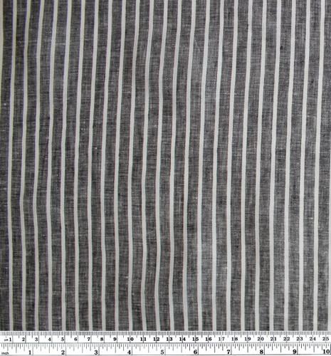Linen Pinstripe - Charcoal/White | Blackbird Fabrics