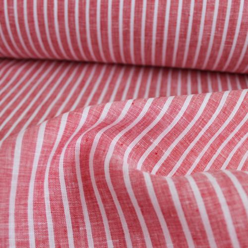 Linen Pinstripe - Red/White | Blackbird Fabrics