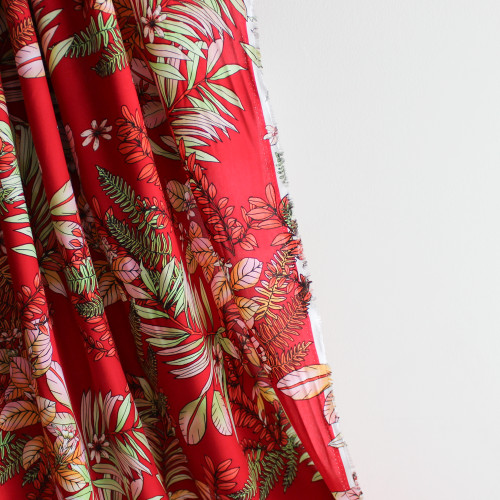 Maui Floral Viscose Poplin - Red | Blackbird Fabrics