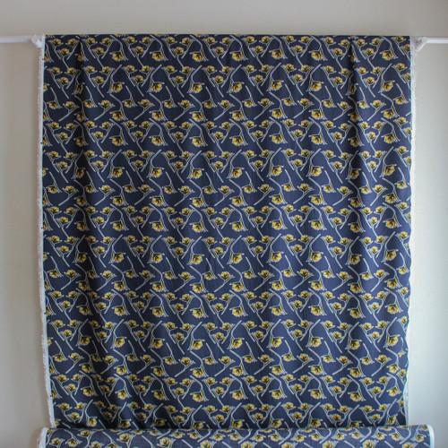 Floral Viscose Poplin - Navy/Yellow | Blackbird Fabrics