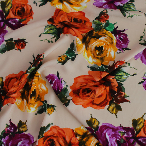 Roses Viscose Poplin - Orange/Purple | Blackbird Fabrics