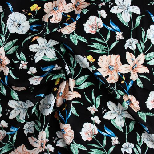 Floral Rayon Voile - Peach/Blue/Green | Blackbird Fabrics