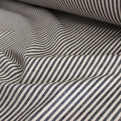 Hemp & Organic Cotton Canvas Stripe - Black/Natural | Blackbird Fabrics