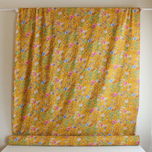 Floral Rayon Cotton Voile - Mustard | Blackbird Fabrics